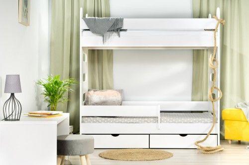 Łóżko 180x80cm High Crane piętrowe z dwiema szufladami kolor biały