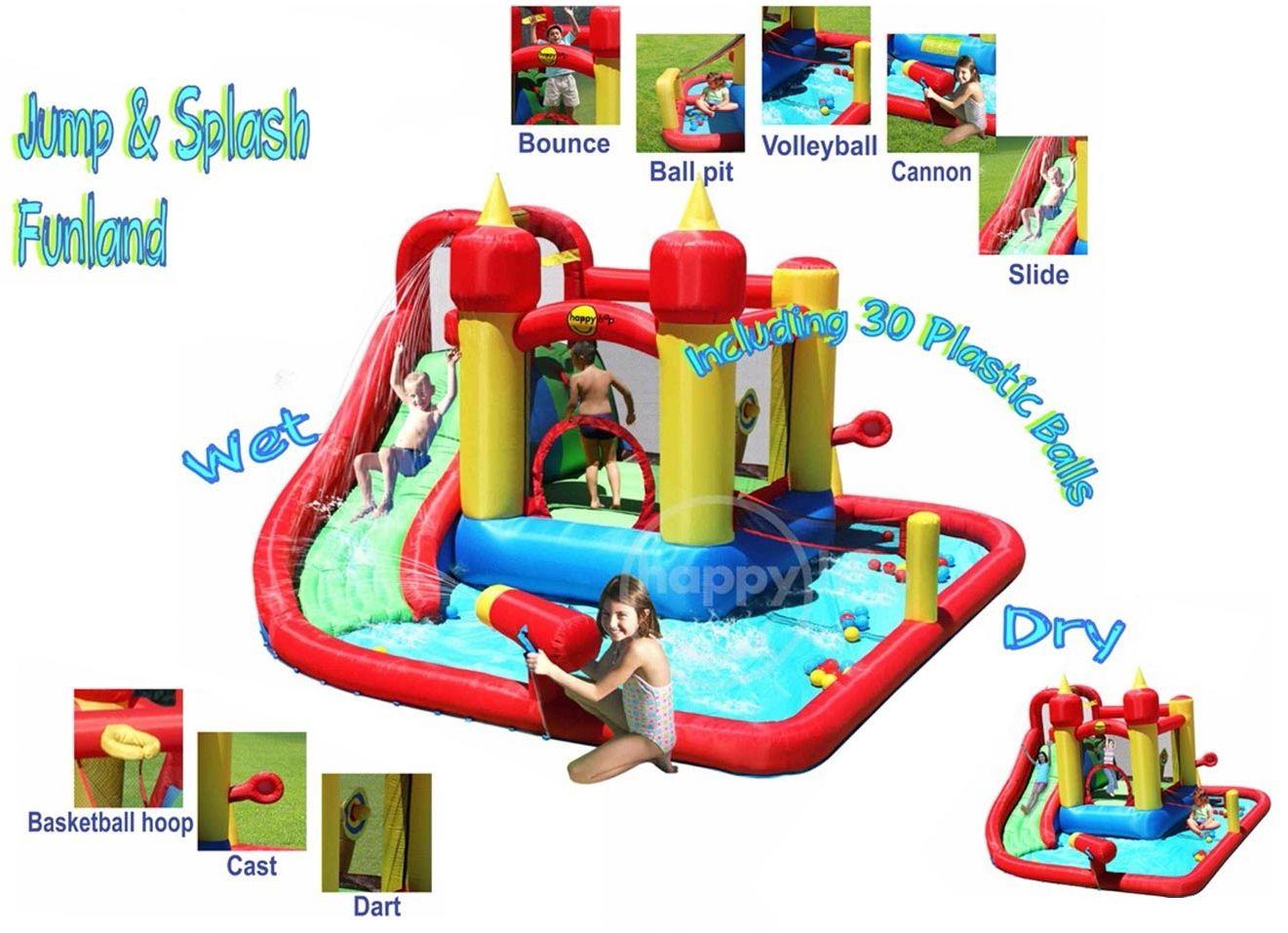 Dmuchany basen ze zjeżdżalnią i armatką - HappyHop - Funland