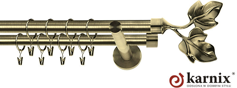 Karnisz nowoczesny NEO podwójny 16/16mm Eliza antyk mosiądz