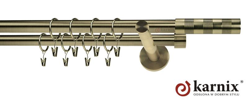 Karnisz nowoczesny NEO podwójny 16/16mm Etiuda antyk mosiądz