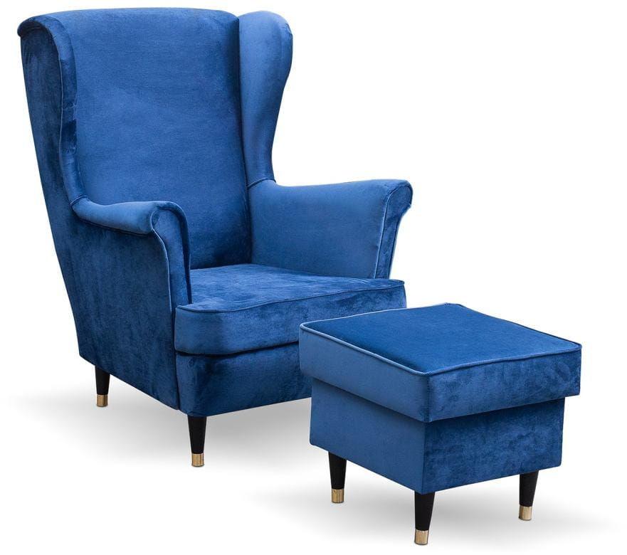 Fotel uszak bez pikowania Lily II z podnóżkiem w stylu skandynawskim