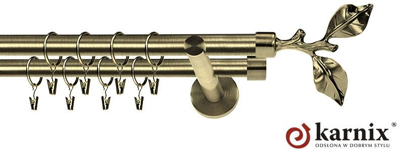 Karnisz nowoczesny NEO podwójny 16/16mm Gałązka antyk mosiądz