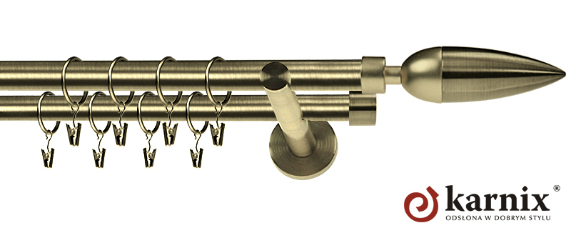 Karnisz nowoczesny NEO podwójny 16/16mm Kazur antyk mosiądz