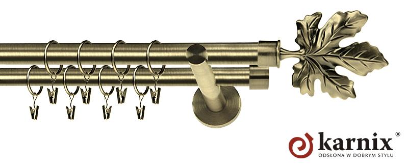 Karnisz nowoczesny NEO podwójny 16/16mm Klon antyk mosiądz
