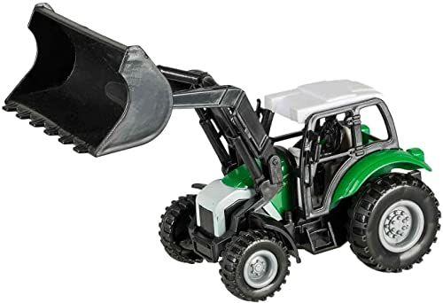 Idena 40292 - traktor z tworzywa sztucznego z silnikiem cofanym, hakiem holowniczym i zdejmowaną ładowarką czołową, ok. 14 x 9,3 x 7 cm