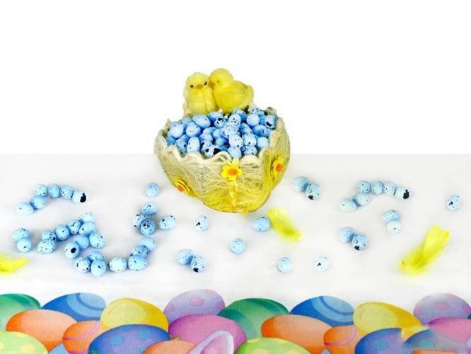 Jajka styropianowe przepiórcze nakrapiane niebieskie - 2 cm - 100 szt.