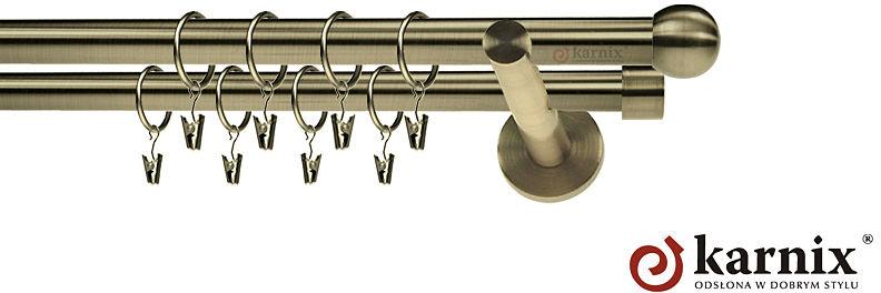 Karnisz nowoczesny NEO podwójny 16/16mm Kula antyk mosiądz
