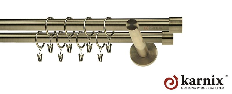 Karnisz nowoczesny NEO podwójny 16/16mm Luna antyk mosiądz