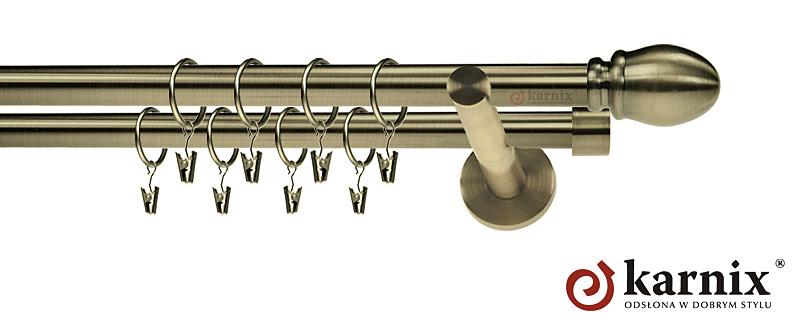 Karnisz nowoczesny NEO podwójny 16/16mm Owal antyk mosiądz