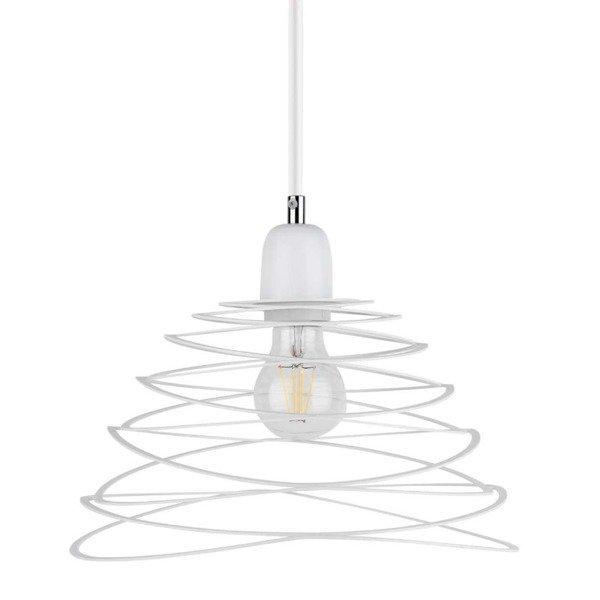 Lampa wisząca KOMET jak sprężyna biała 30cm