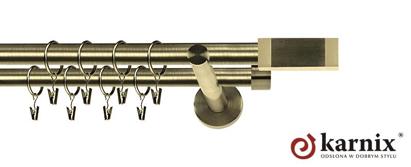 Karnisz nowoczesny NEO podwójny 16/16mm Salerno antyk mosiądz