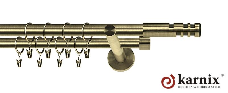 Karnisz nowoczesny NEO podwójny 16/16mm Salsa antyk mosiądz