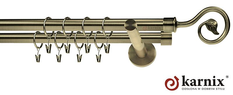 Karnisz nowoczesny NEO podwójny 16/16mm Spiralka antyk mosiądz