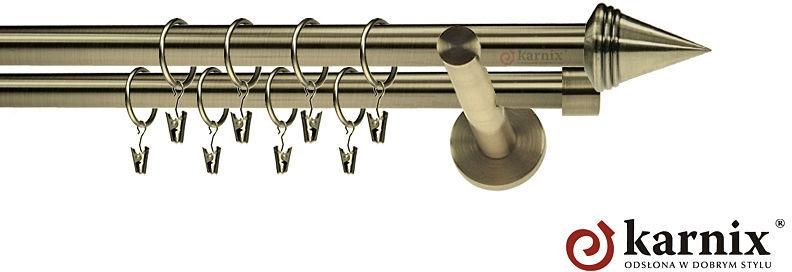 Karnisz nowoczesny NEO podwójny 16/16mm Stożek antyk mosiądz