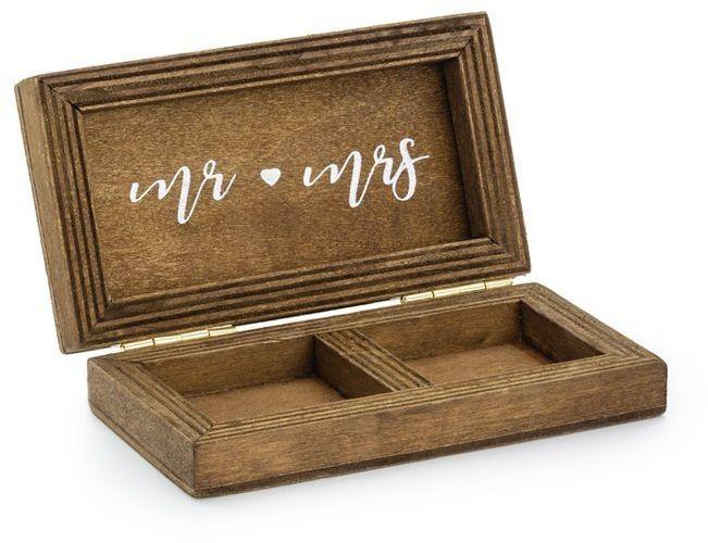 Drewniane pudełko na obrączki Mr  Mrs 1 sztuka PKWD2
