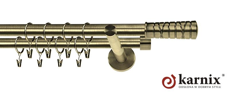 Karnisz nowoczesny NEO podwójny 16/16mm Torino antyk mosiądz