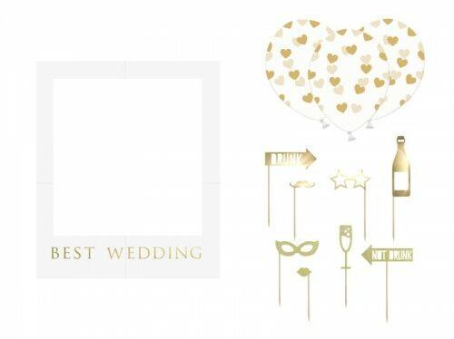 Zestaw z ramką do selfie Best Wedding