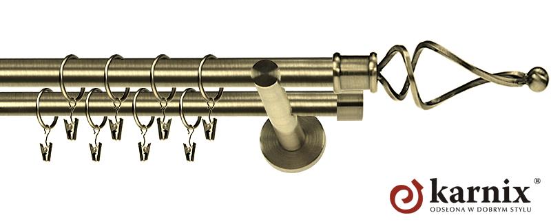 Karnisz nowoczesny NEO podwójny 16/16mm Twist antyk mosiądz