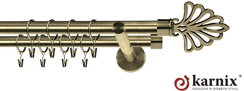 Karnisz nowoczesny NEO podwójny 16/16mm Wachlarz antyk mosiądz