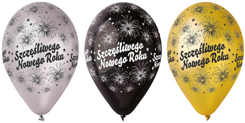 Balony Szczęśliwego Nowego Roku - 30 cm - 6 szt.
