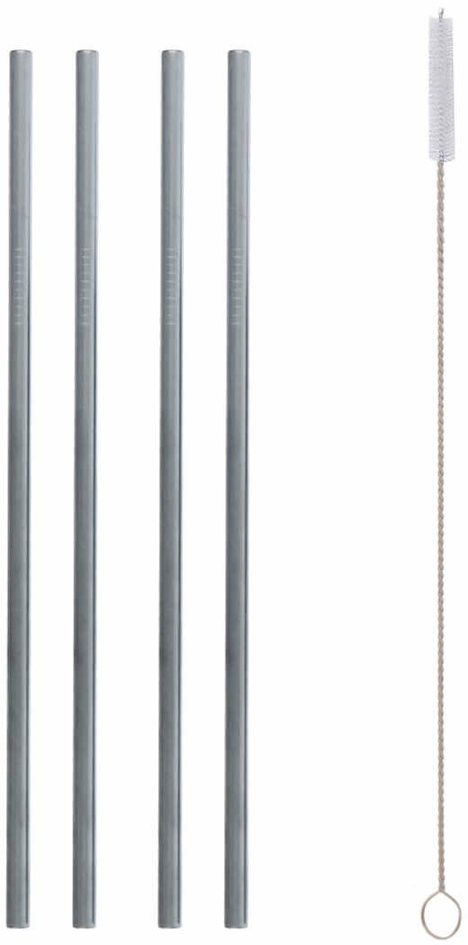 Słomki rurki srebrne proste ze stali nierdzewnej - 5 elementów