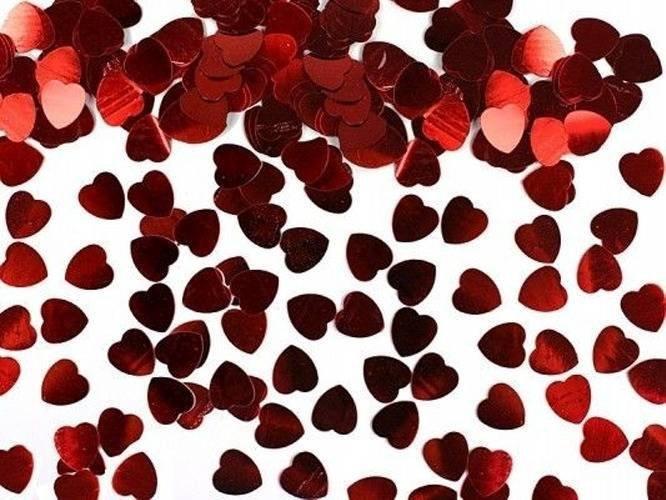 Konfetti metalizowane czerwone Serca - 0,6 cm - 30 g