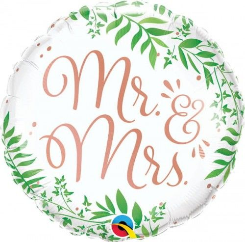 """Balon foliowy na ślub Mr & Mrs, rustykalny 18"""""""