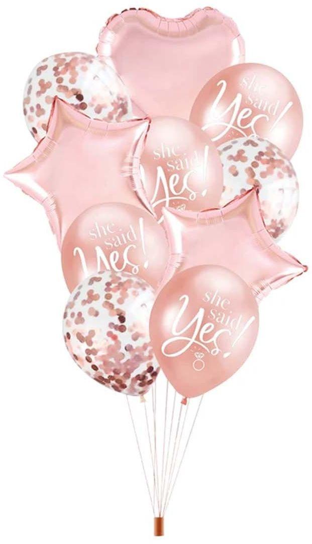 Zestaw balonów różowo-złoty She Said Yes na wieczór panieński - 10 szt.