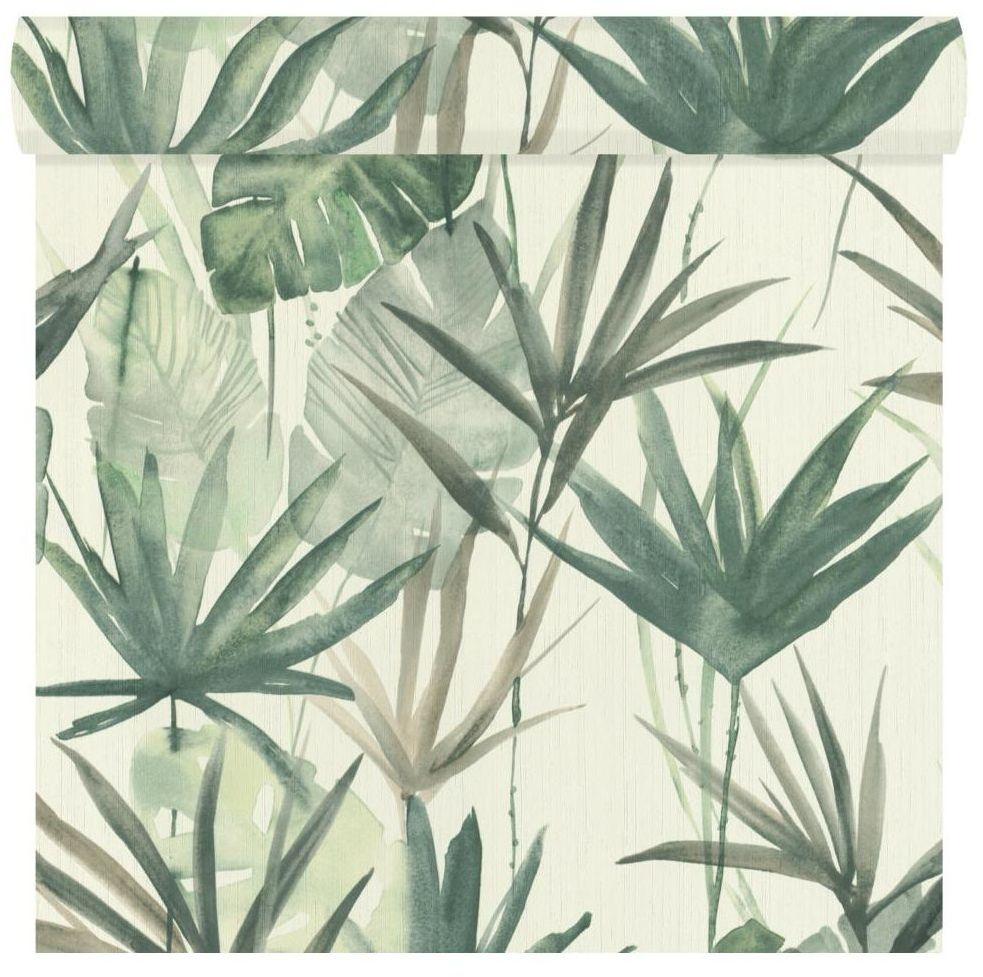 Tapeta w liście Tropical Forest zielona winylowa na flizelinie