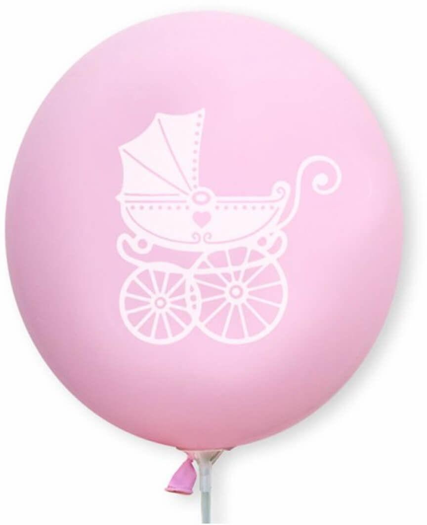 Balony lateksowe Wózek dziecięcy różowe - 30 cm - 5 szt.
