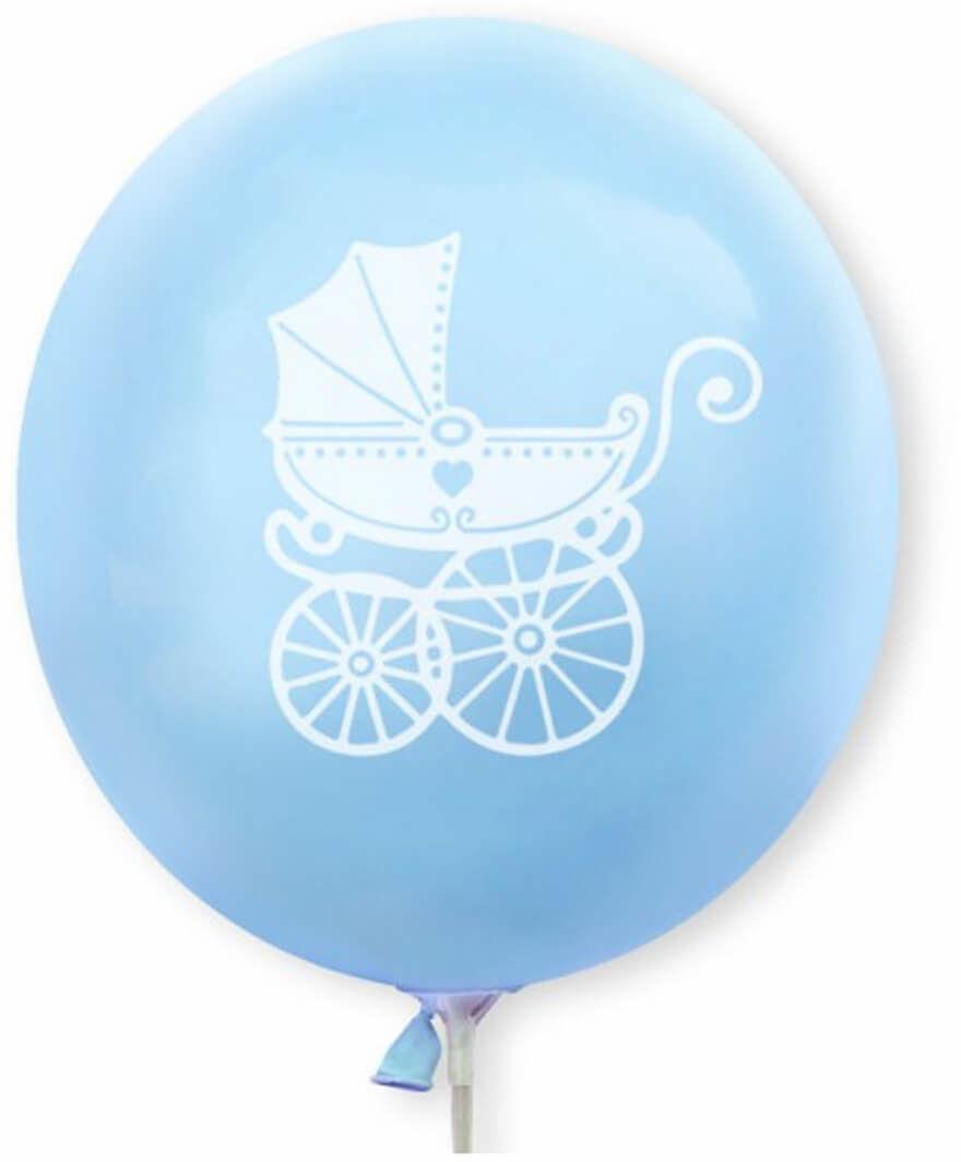 Balony lateksowe Wózek dziecięcy błękitne - 30 cm - 5 szt.