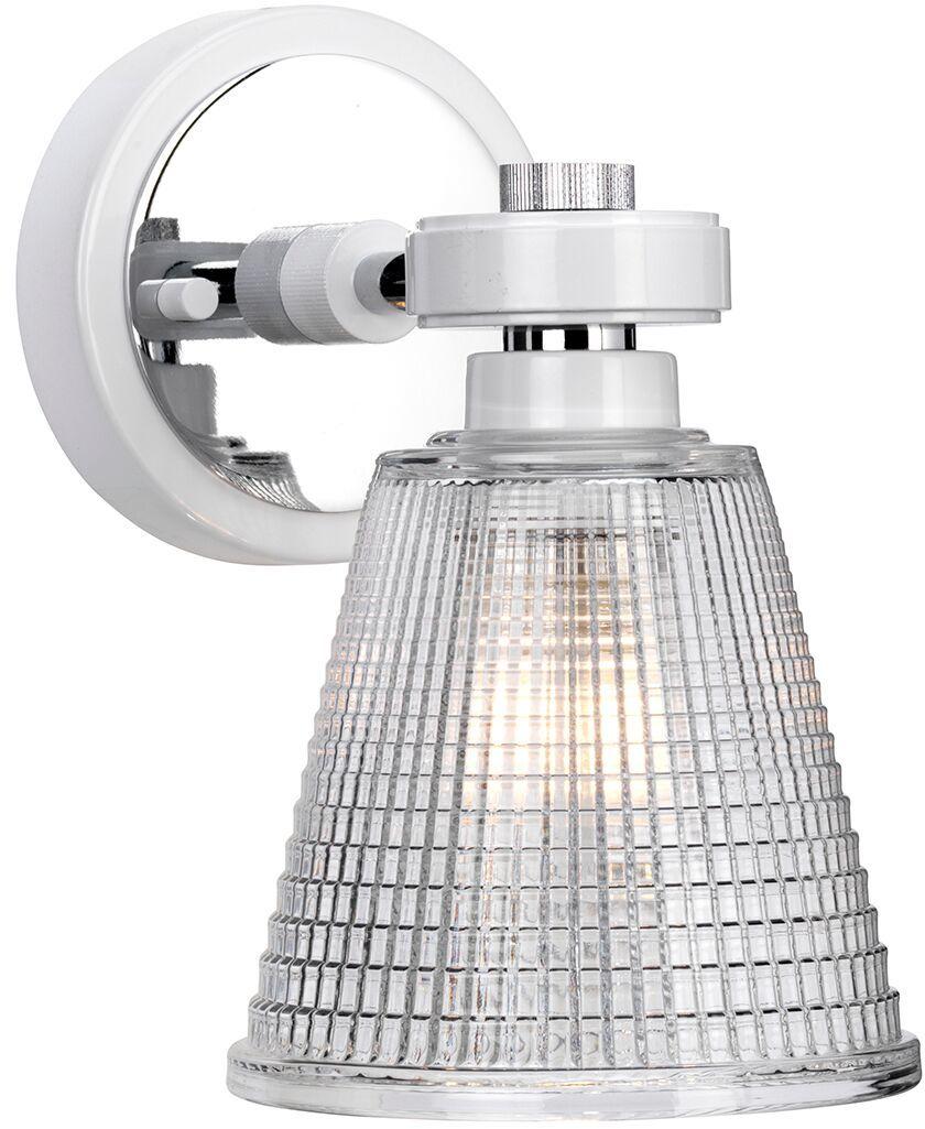 Kinkiet łazienkowy Gunnislake WPC Elstead Lighting klasyczna oprawa w kolorze biało-chromowym