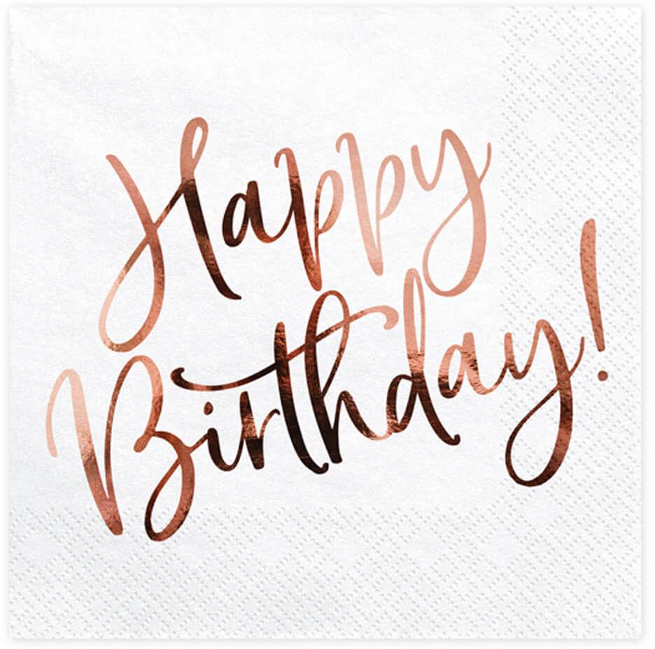 Serwetki urodzinowe Happy Birthday różowe złoto - 33 cm - 20 szt.