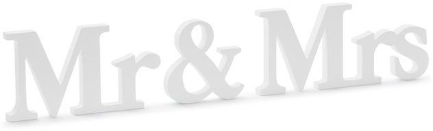 Drewniany napis Mr&Mrs biały 9,5x50cm DN5-008