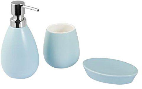 H & H Pengo h1310346 a zestaw łazienkowy Venezia, 3 sztuki, ceramika, jasnoniebieski, 21 x 9 x 25 cm, 3 elementy