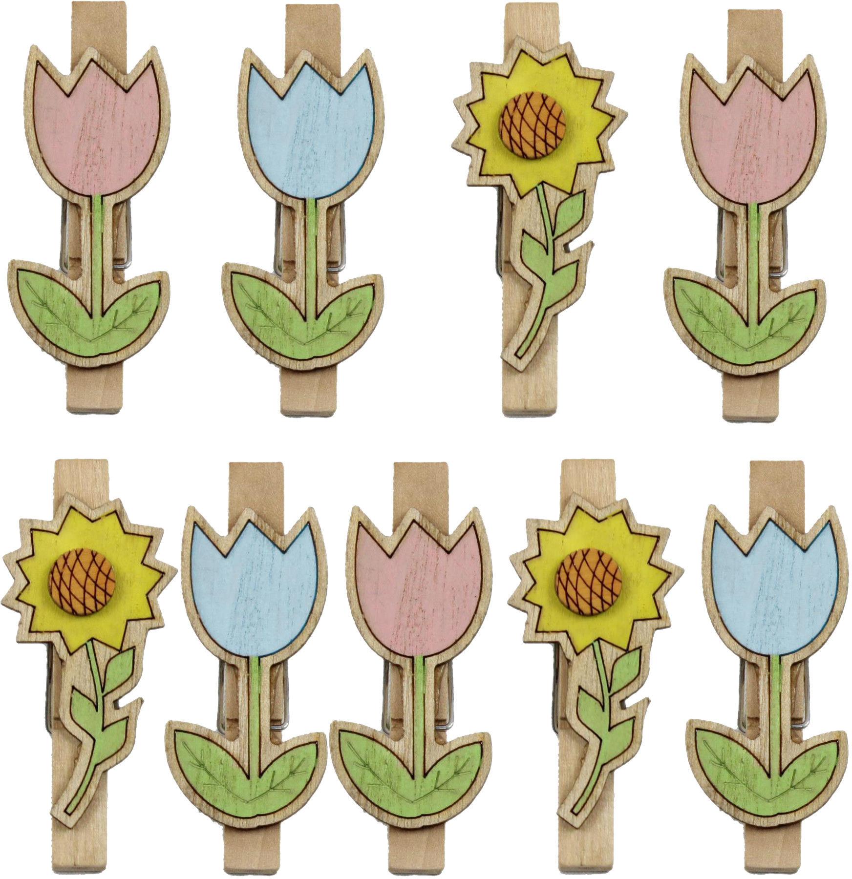 Spinacze 7 cm z kwiatami kpl. 9 szt.