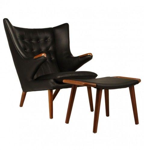 Fotel z podnóżkiem insp. Papa Bear Chair - skóra naturalna
