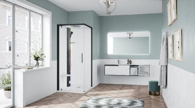 Novellini Glax 1 2.0 kabina z sauną parową 90x90 lewa czarna G21GF90SM5-1HH