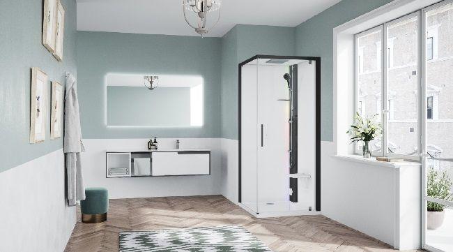 Novellini Glax 1 2.0 kabina z sauną parową 90x90 prawa czarna G21GF99DM5-1HH