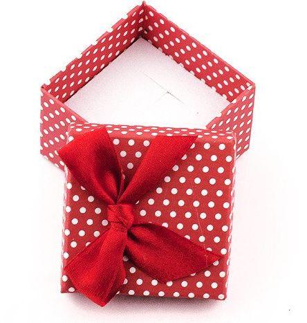 Czerwone Pudełko na Biżuterię w Białe Kropki