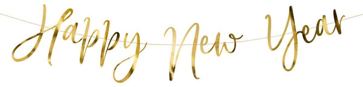 Baner Happy New Year złoty - 66 cm - 1 szt.