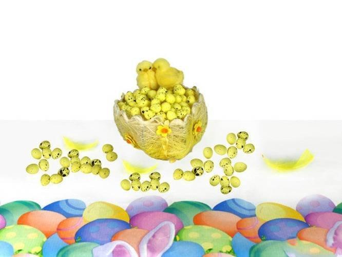 Jajka styropianowe przepiórcze nakrapiane żółte - 2 cm - 100 szt.