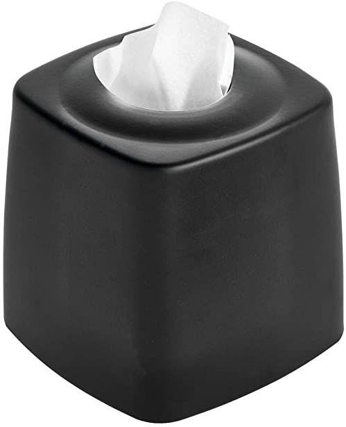 iDesign Austin pudełko na chusteczki kosmetyczne, w kształcie kostki z metalu, kolor czarny matowy