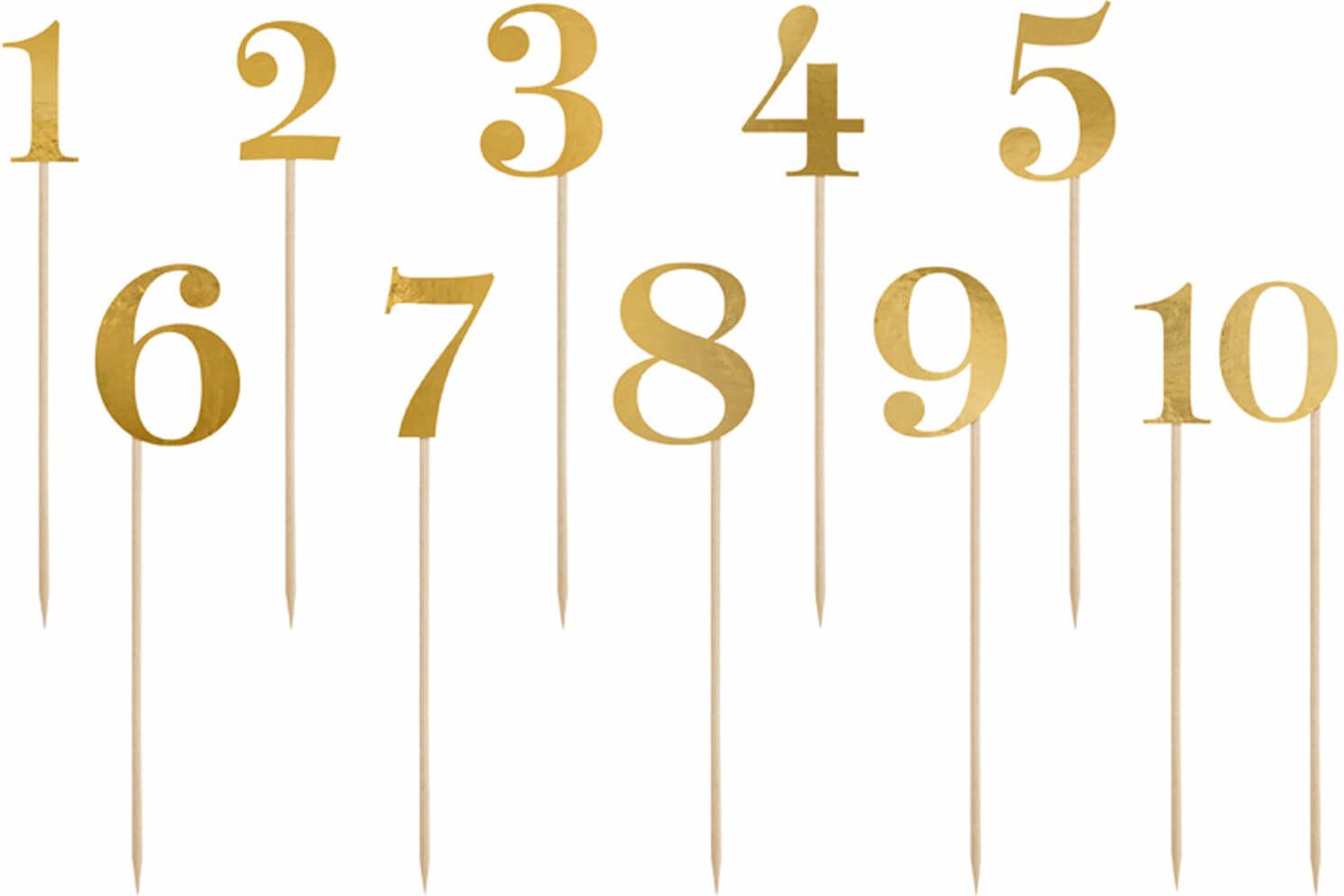 Numery na stół złote metalizowane - 11 szt.