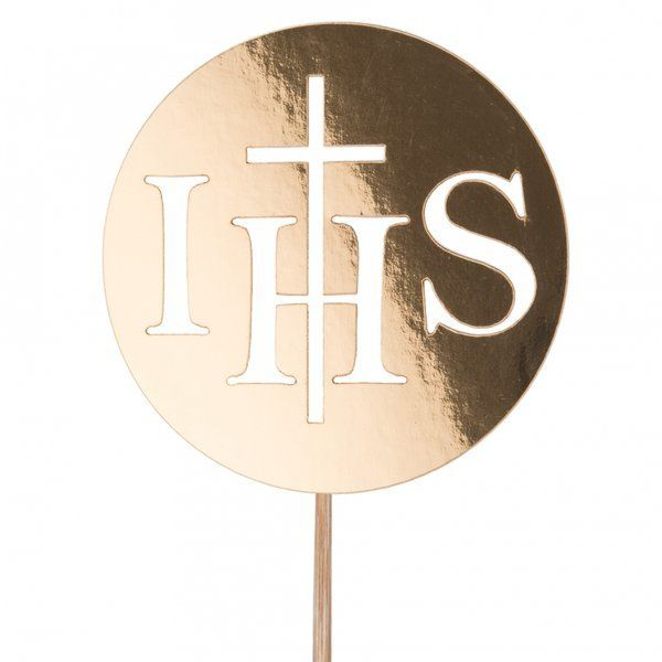 Topper na tort komunijny IHS z krzyżem złoty 13,5cm 1 sztuk 308092