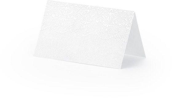 Wizytówki na stół z perłowym wzorem 10 sztuk WS49