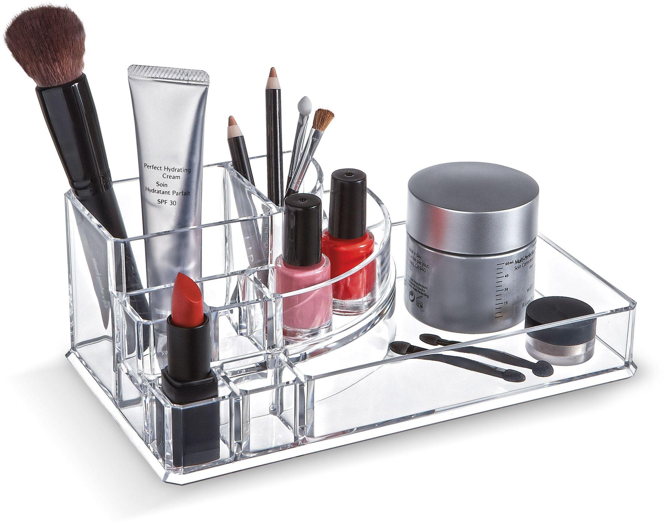 Domopak akrylowy organizer do makijażu na kosmetyki zestaw ekspozycji na biżuterię  4 przegródki i 4 przegródki na szminki