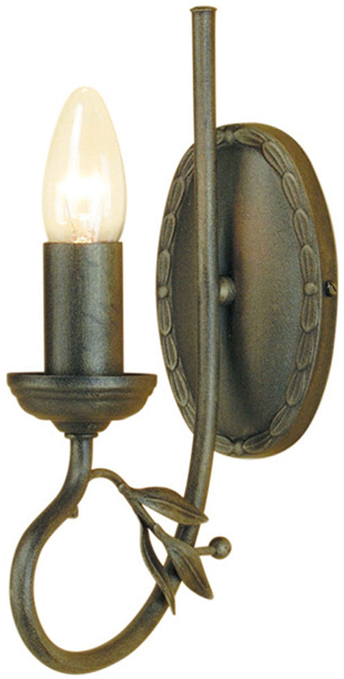 Kinkiet Olivia OV1 BLK/GLD Elstead Lighting czarno-złota oprawa w rustykalnym stylu
