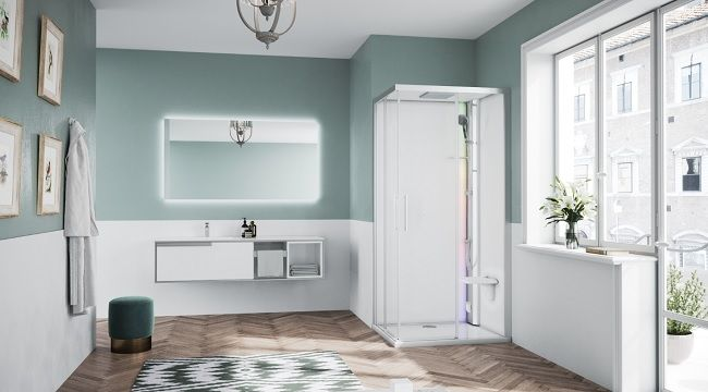 Novellini Glax 1 2.0 kabina z sauna parową 100x100 srebrna G21A100M5-1BB