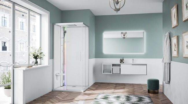 Novellini Glax 1 2.0 kabina z sauna parową 90x70 lewa srebrna G21A9079SM5-1BB